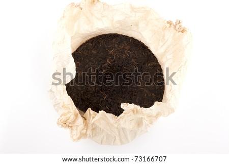 Aromatic black pu-erh tea - stock photo