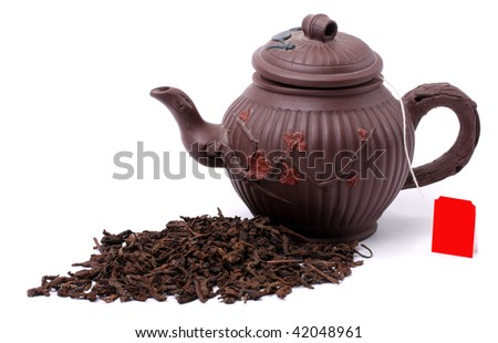 Aromatic black pu-erh tea from yunnan province in China. Healthy hot drink, natural anti-biotic medicine. - stock photo