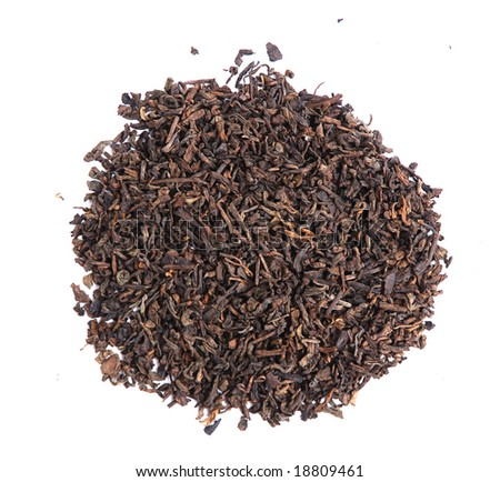 Aromatic black pu-erh tea leaves - stock photo