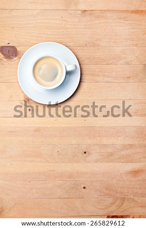 aromatic coffee on wood table - stock photo