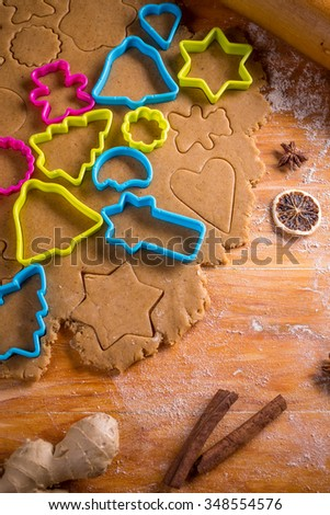 Aromatic dough for Christmas gingerbread cookies  - stock photo