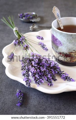 Aromatic lavender tea - stock photo