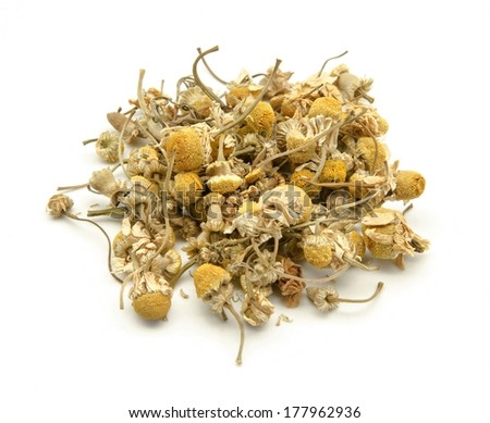 Aromatic natural chamomile flowers on white background