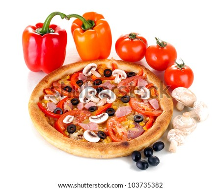 Aromatic pizza with vegetables and mushrooms isolated on white - stock photo