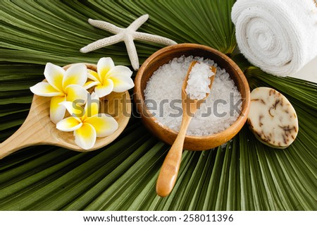 aromatic salt therapy in spa setting - stock photo