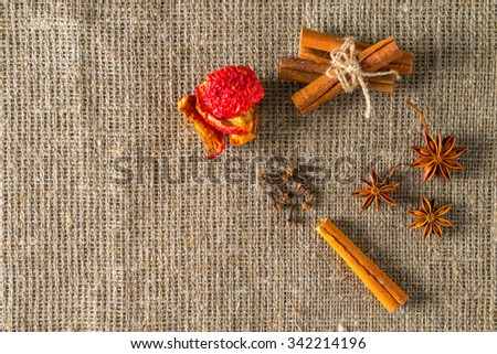 Aromatic spices. Cooking ingredients: cinnamon sticks, apple, clove and star anise. - stock photo