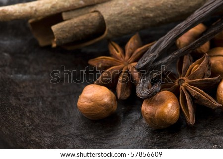 aromatic spices with brown sugar and nuts - stock photo
