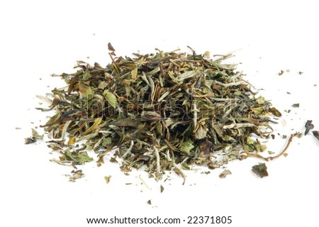 Aromatic white tea leaves on white background - stock photo