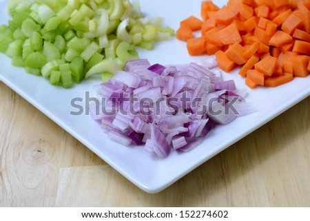 aromatics chopped onion celery carrot - stock photo