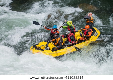 AROUCA, PORTUGAL - APRIL 23: Yellow raft team at the Paivafest on april 23, 2016 in Arouca, Portugal.