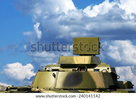 Around antenna for complex with unmanned aerial vehicle, made of phased array technology, on a rotating platform - stock photo