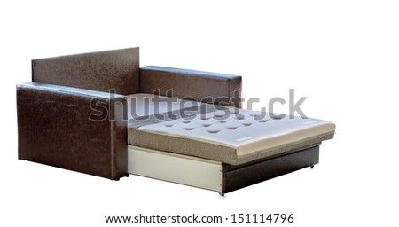 Arranged bed over white background. Colorful black leather couch.