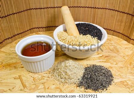 arranged sesame seeds - stock photo