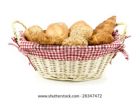 Arrangement of bread in basket - stock photo