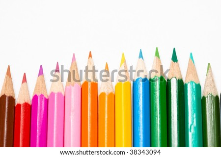 Arrangement of color pencils with copy-space