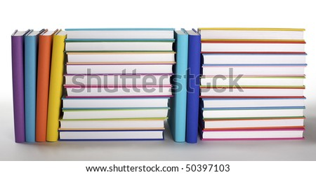 Arrangement of colorful books with blank covers on white background,  PHOTOGRAPH, NOT 3D RENDER. - stock photo