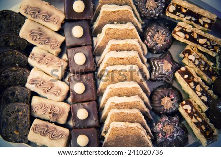 Arrangement of food and cakes