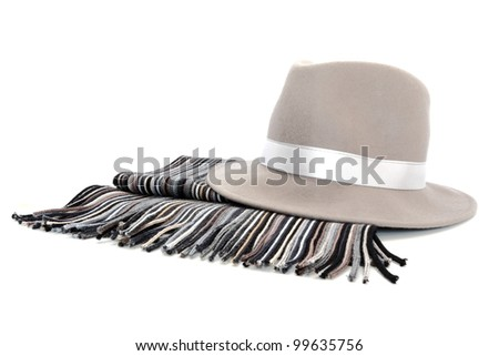 Arrangement of grey hat and scarf over white background