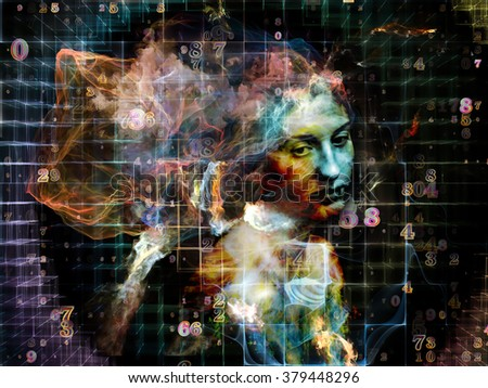 Arrangement of grids, numbers, fractal noise patterns and a human face for use in projects on mathematics, art, philosophy, science and education. - stock photo