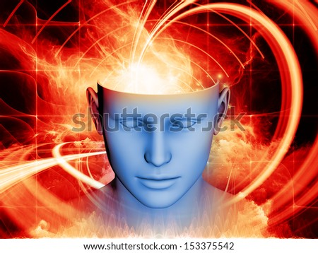 Arrangement of human head and symbolic elements on the subject of human mind, consciousness, imagination, science and creativity