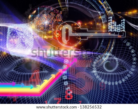 Arrangement of human head, key symbol and fractal design elements on the subject of encryption, security, digital communications, science and technology - stock photo
