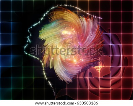 Arrangement of human profiles, lights and fractal design elements on the subject of thinking mind