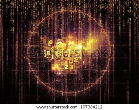 Arrangement of numbers and design elements on the subject of computers, science, math and modern technology - stock photo