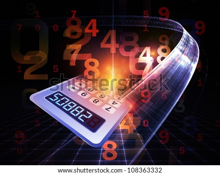 Arrangement of numbers and fractal elements on the subject of computers, science, math and modern technology - stock photo