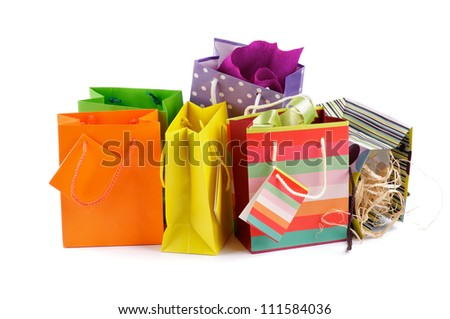 Arrangement of Shopping and Gift Bags isolated on white background