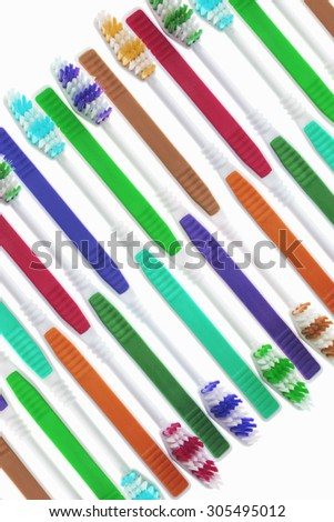 Arrangement of Toothbrushes  - stock photo