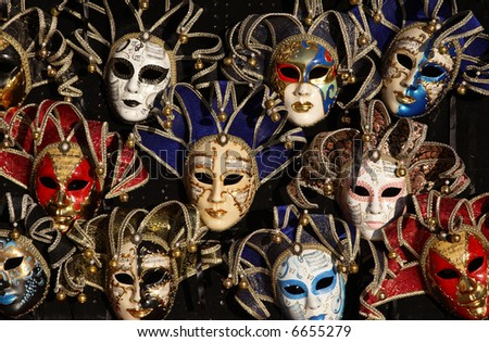 Arrangement of Venetian masks - stock photo