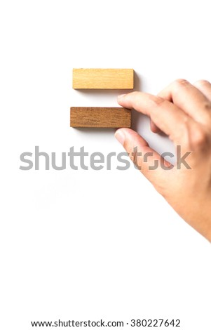 Arranging wood block . Business concept for growth success process. - stock photo