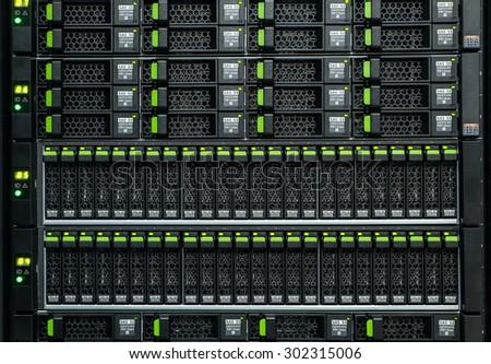 Array disk storage in data center - stock photo