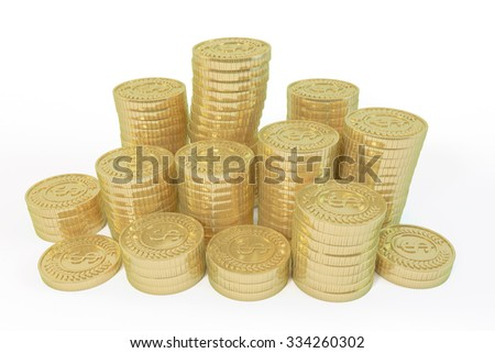 Array neat pile of gold coins on a white background - stock photo