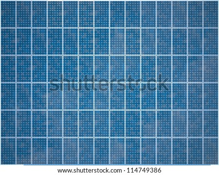 Array of Photovoltaic Solar Panels - High quality render - stock photo