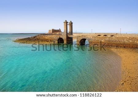 Arrecife Lanzarote Castillo San Gabriel castle and Puente de las Bolas bridge - stock photo