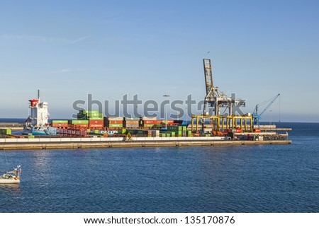 ARRECIFE, SPAIN - MARCH 30:  view to modern harbor from ancient times on Mar 30, 2013 in Arrecife, Spain.  Puerto Naos served ships since the 15th Century for ships heading across The Atlantic.
