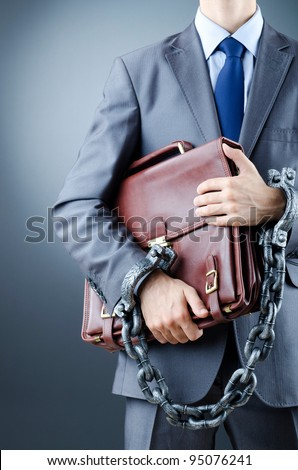 Arrested businessman in crime concept - stock photo