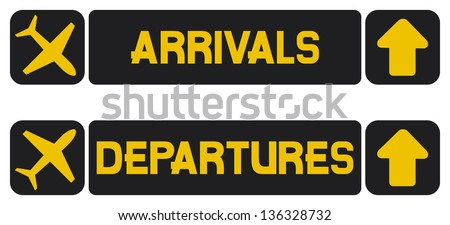 arrival and departures airport signs (information panel on the direction of arrivals and departures at airports) - stock photo