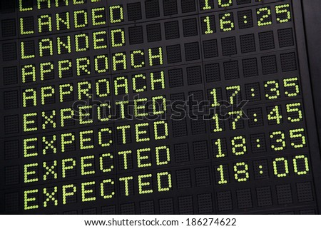 Arrival-departure board on an airport - stock photo