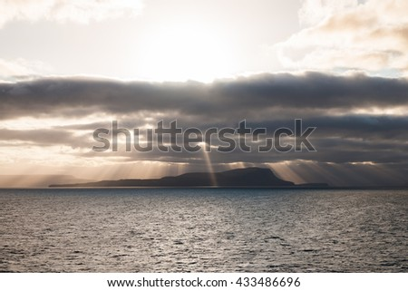 arrival on the Faroe islands during sunset - stock photo