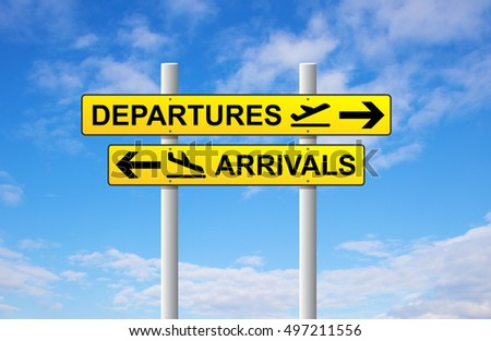 Arrivals and departures airport direction sign on blue sky