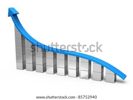 Arrow and bar chart - stock photo
