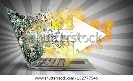 arrow and fire exit by a monitor of laptop screen. High resolution 3d  - stock photo
