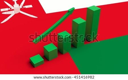 Arrow and growth bars on top of a Oman Flag. 3D illustration.