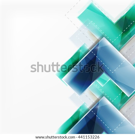 Arrow background. web brochure, internet flyer, wallpaper or cover poster design. Geometric style, colorful realistic glossy arrow shapes with copyspace. Directional idea banner - stock photo