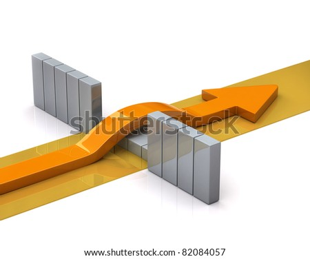 Arrow breaks through a wall - stock photo