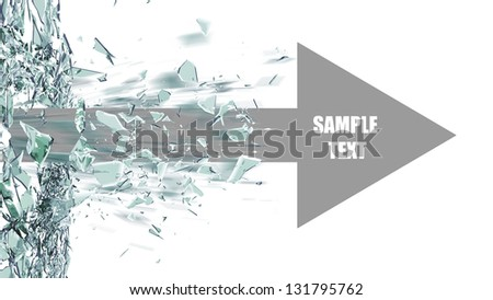 ARROW broken glass background isolated on white. High resolution 3d render - stock photo