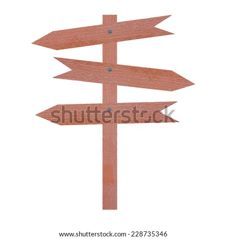 Arrow brown wooden signboard on white background.