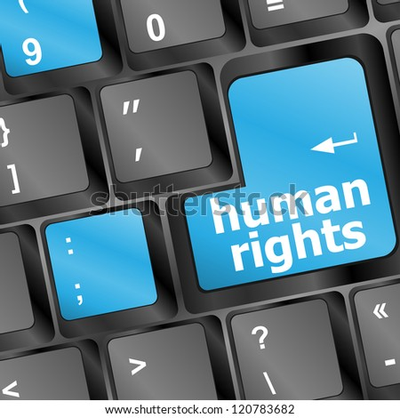arrow button with human rights word on it, raster - stock photo